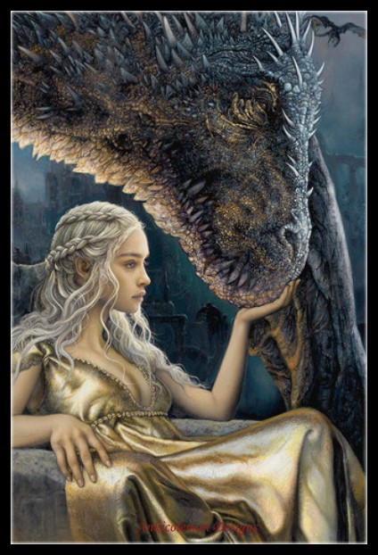 Counted Cross Stitch Kits Needlework Embroidery - 14 Ct Aida DMC Color DIY Arts Home Decor - Daenerys And Dragon