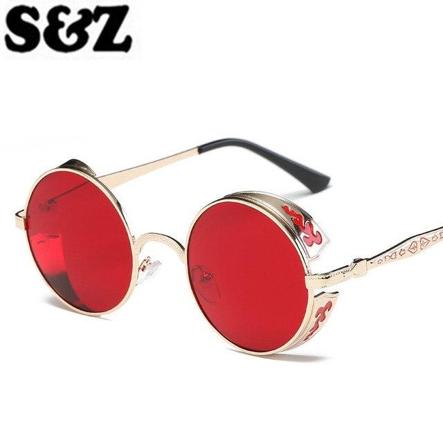 7e65d7a61 Retro Rodada Steampunk óculos de Sol Das Mulheres Dos Homens Popular  Vermelho Espelho Círculo óculos de