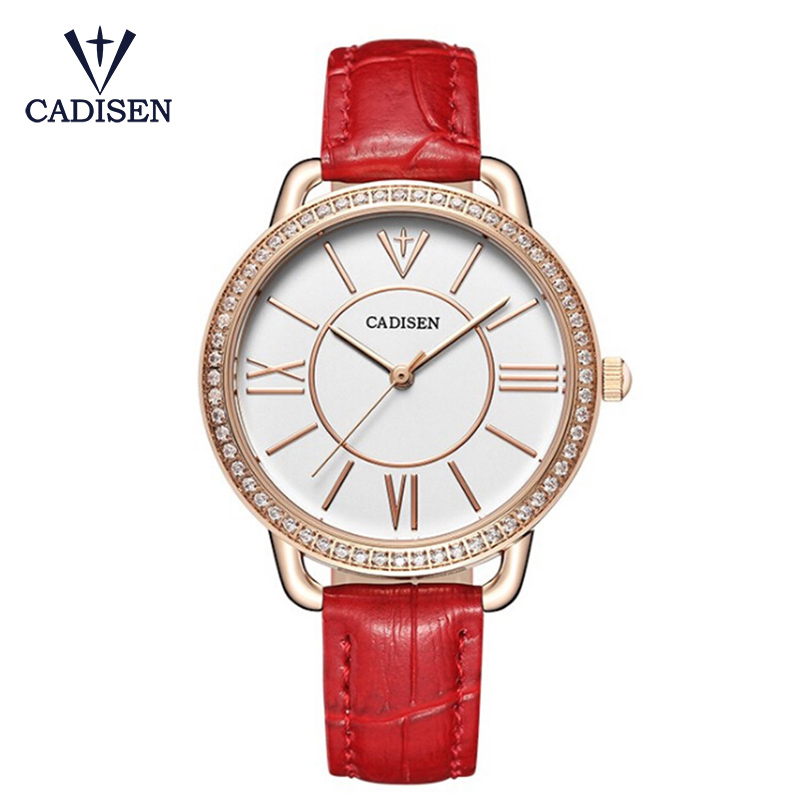 CADISEN Ladies Fashion Quartz Watch Women Rhinestone Leather Casual Dress Watch Crystal Watch Gifts Reloje Mujer Montre Femme tezer ladies fashion quartz watch women leather casual dress watches rose gold crystal relojes mujer montre femme ab2004
