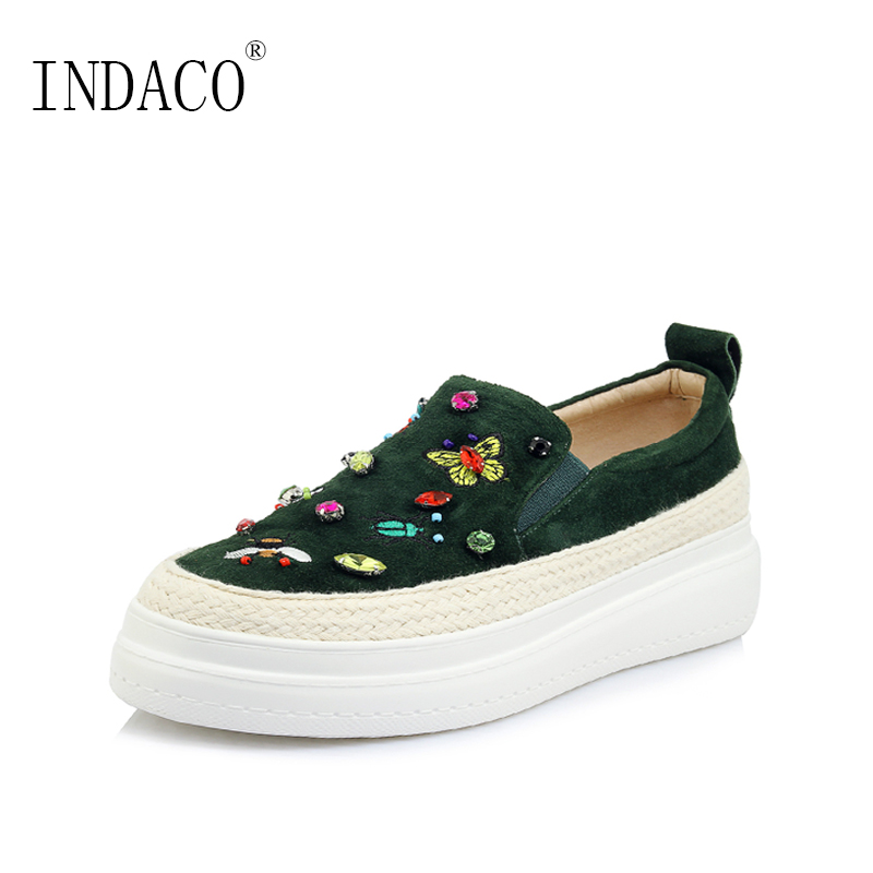 Platform Sneakers Embroidery Women Leather Loafers Black Green Bling Bling Platform Flat Sneakers 5.5cm