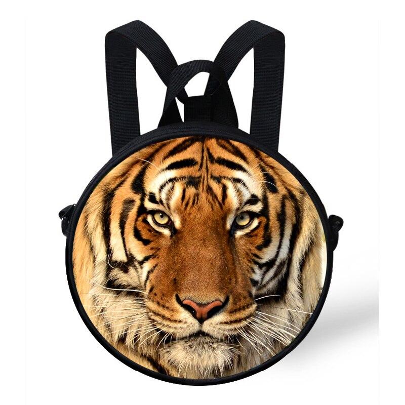Us 110 26 Off9 Zoll Animal Print Runde Tasche Für Kinder Tiger Drucken Mini Rucksack Für Kinder Baby Kindergarten Tasche Für Mädchen Jungen In