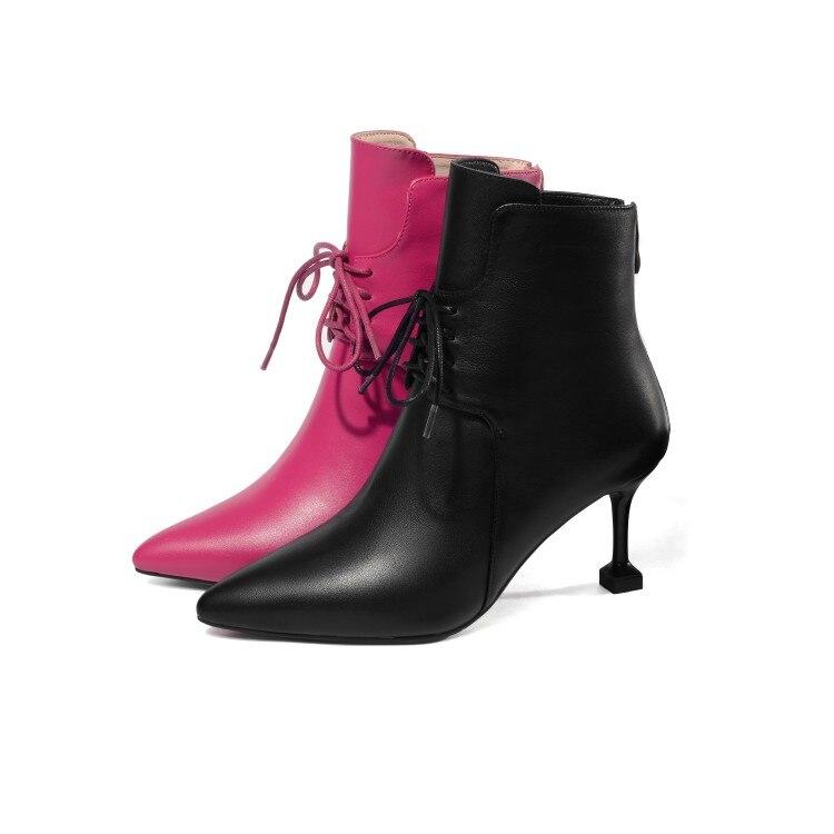 Martin Vache Mljuese Taille Hiver Femmes Mince 34 Bottes En Chaud 42 Cheville black Lace 2019 Talons De Red Haute Talon Cuir Grand Up waaUSqn0r