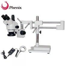 Феникс микроскоп 7x-45x зум Тринокулярный Стерео микроскоп двойная подставка+ светодиодный профессиональный мобильный телефон ремонт PCB