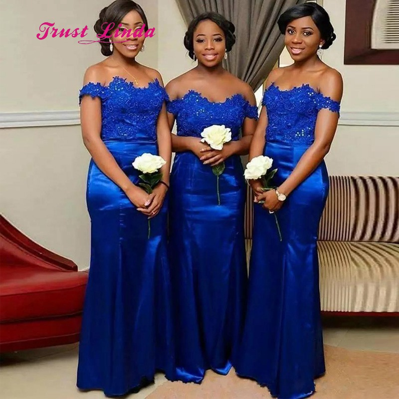 Top Lace Royal Blue Bridesmaid Dresses