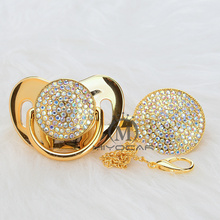 MIYOCAR bling all silver gold colorful pacifier and clip set unique design BPA free SGS pass safe AC-8