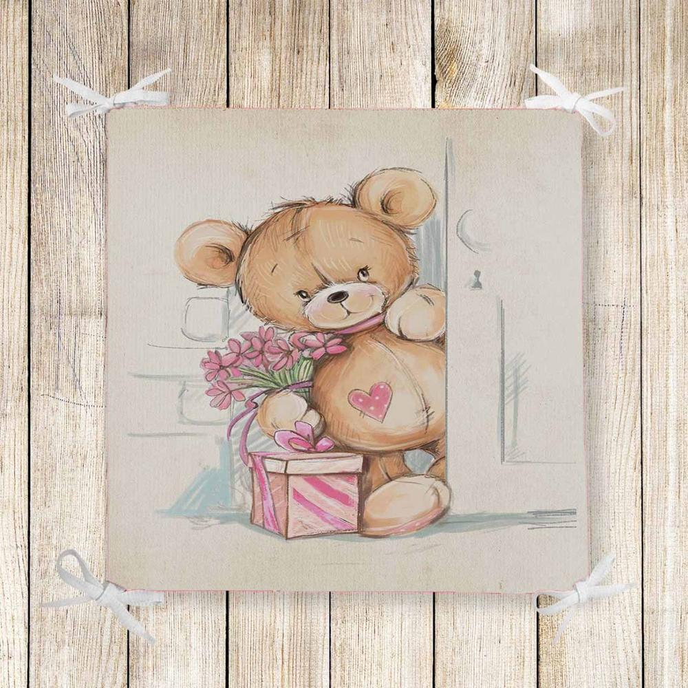 Else Brown Tedyy Bears Pink Gift Box 3d Print Chair Pad Seat Cushion Soft Memory Foam Full Lenght Ties Non Slip Washable Zipper