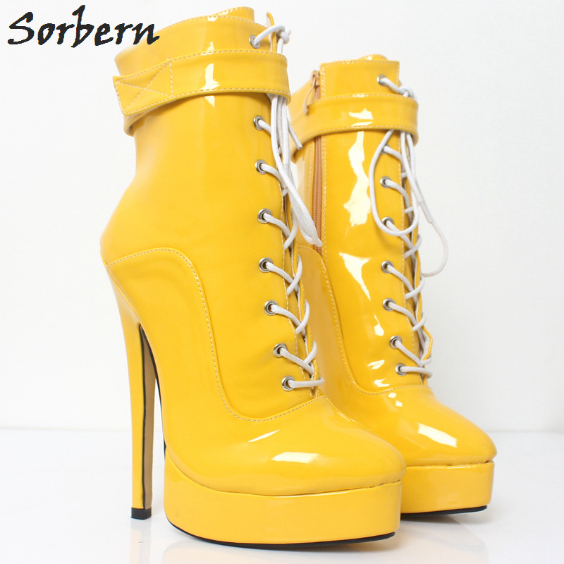 newest f173a 3ef64 US $86.4 20% OFF|Sorbern Yellow Classic Shoes Women Ankle Boots For Women  Fenty Beauty Platform Boots Super High Heels Fall Boots Women Size 12-in ...
