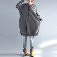 Women Casual Sweatshirts Autumn Winter 2017 Polka Dot O Neck Solid Loose Pullover Brief Long Sweatshirts