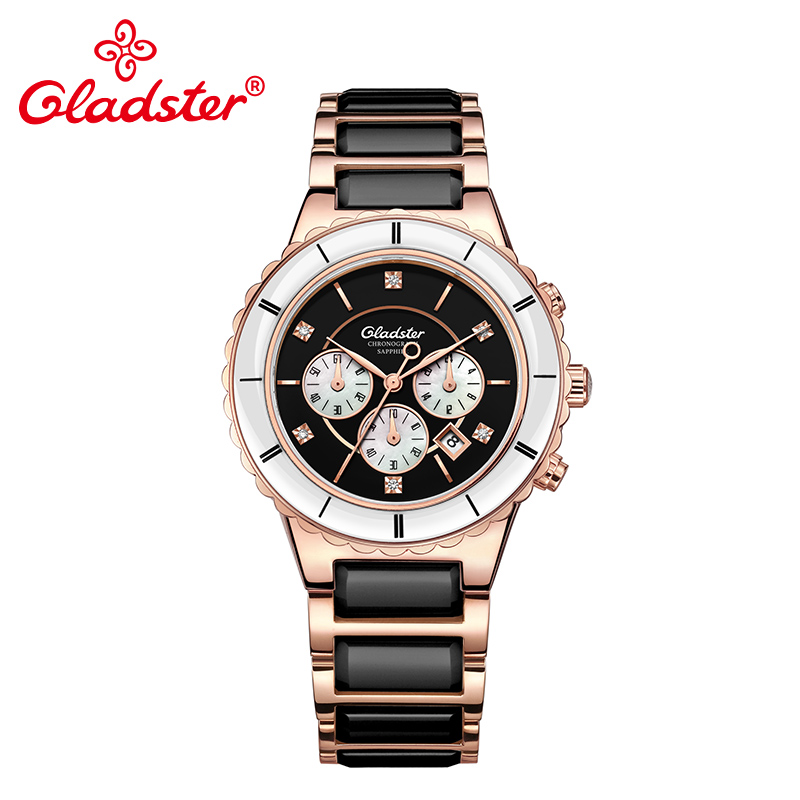 Gladster Luxury Japan MIYOTA FS20 4 5H Chronograph Ceramic Quartz Watch Charm Lady Wristwatch Classic Business