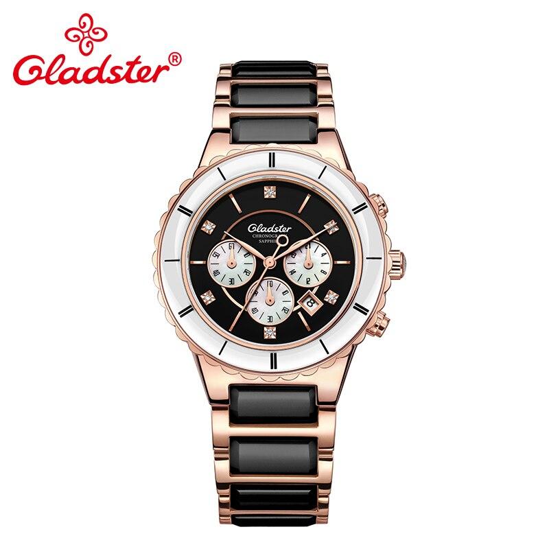 Gladster Luxe Japon MIYOTA FS20-4.5H Chronographe Céramique Quartz Montre Charme Dame Montre-Bracelet Classique Affaires Femme Horloges