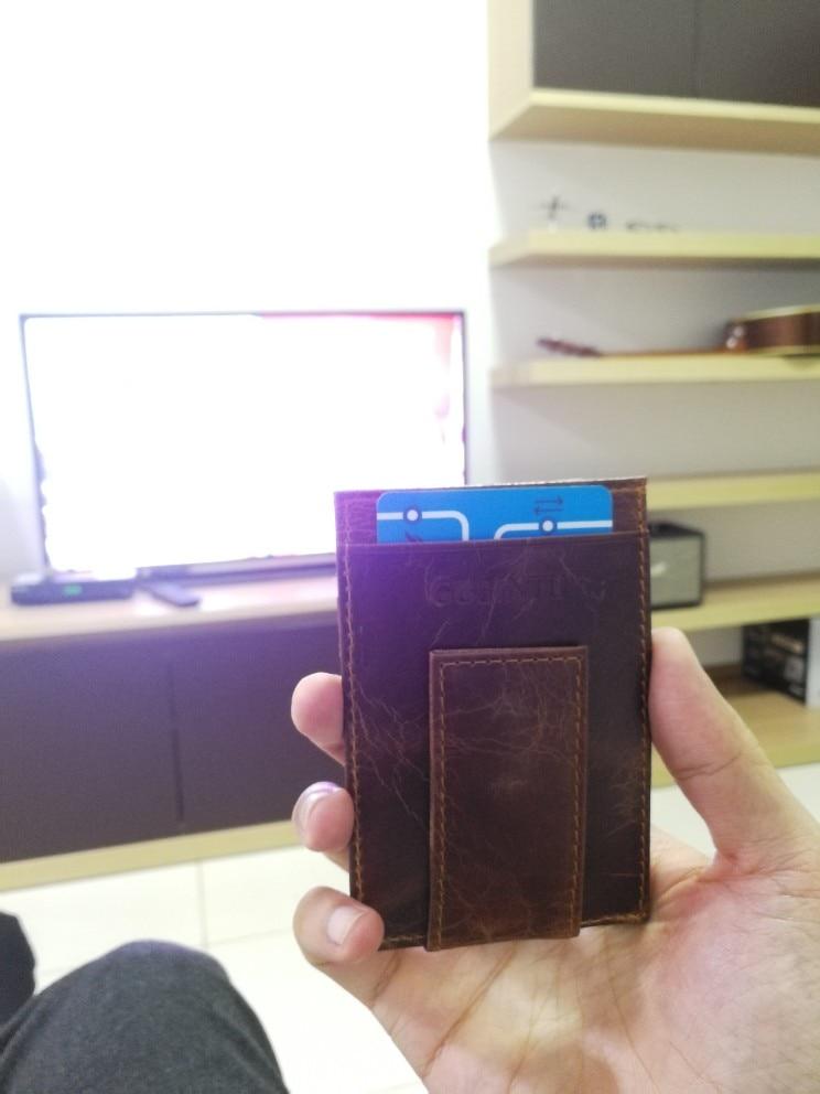 Pocket Magnet Genuine Leather Men Wallet Purse Case Dollar With Male Slim Clamp For Bills I Money Clip Holder Cash Credit Card photo review