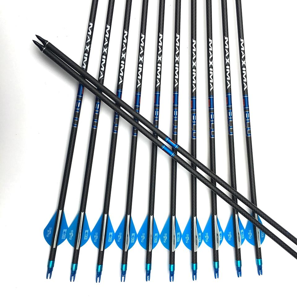 6 12 24pcs 3K Carbon weave Arrow Pure Carbon Arrow Spine 400 OD 7 6 mm