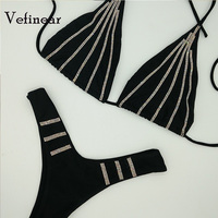 Vefinear 2018 New Swimwear Women Bandage Swimsuit Biquini Vintage Diamond Bikini Set Ladies Bathing Suit Maillot De Bain Bling