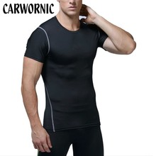 CARWORNIC Causal Quick Dry Gyms T Shirt Men Fitness Workout Male Elastic Breathable Bodybuilding T-Shirt