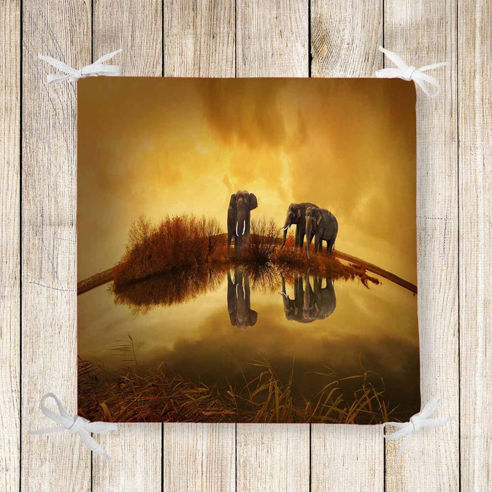 Else Yellow Sunset Elephants Africa 3d Print Chair Pad Seat Cushion Soft Memory Foam Full Lenght Ties Non Slip Washable Zipper