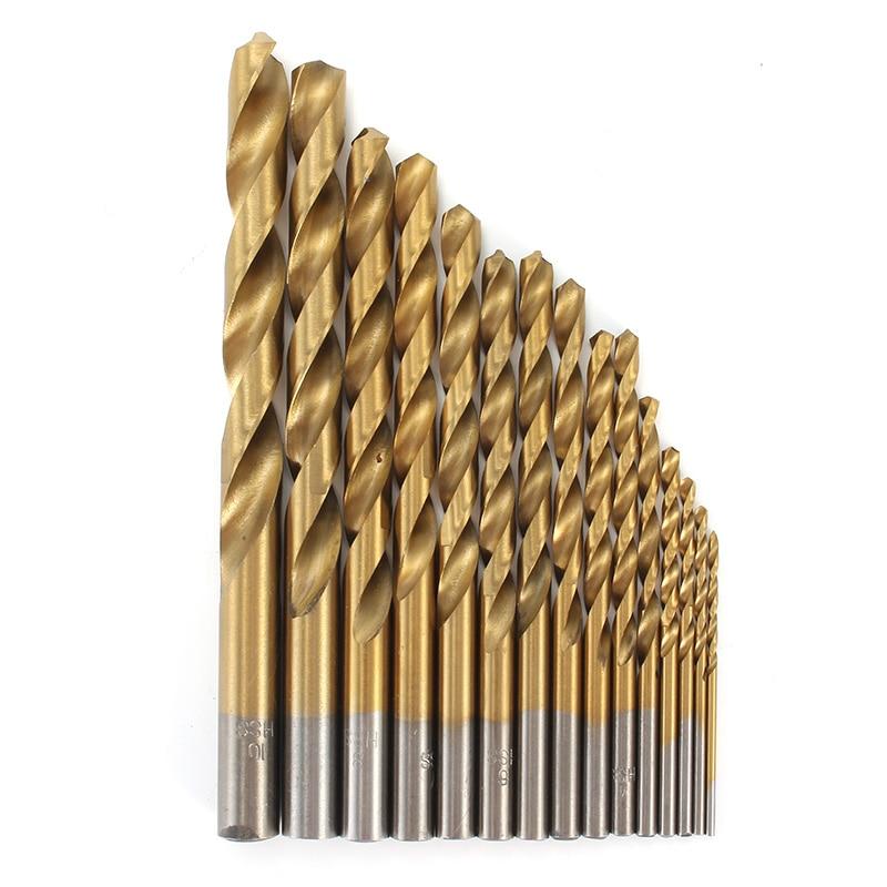 15pcs HSS Titanium Twist Drill Bit Set 1.5-10mm Wood Metal Drilling Tool High Speed Steel 40-133mm Long 19pcs set hss drilling sleeve cobalt diamond titanium coating high speed steel twist drill cobalt wood tool drilling 1 0 10mm