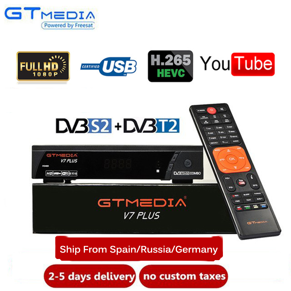 GTMEDIA V7 PLUS 1080P Full HD DVB S/S2+T/T2 Support H.265 Newam Youtube USB Wifi VS FREE SAT V7 COMBO-in Satellite TV Receiver from Consumer Electronics