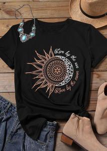 Tops Tee Women 2020 New Black T-shirt Female Print O-Neck Tees Fashion Femme T shirt Casual Tops Tee Vintage Womens T shirt