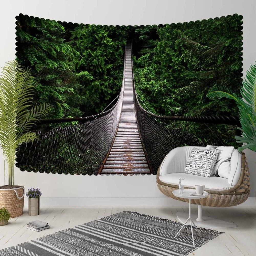 Jeszcze tropikalna zieleń drzew dżungli na szarym moście 3D drukuj dekoracyjne Hippi czeski ścienny wiszący krajobraz Tapestry Wall Art