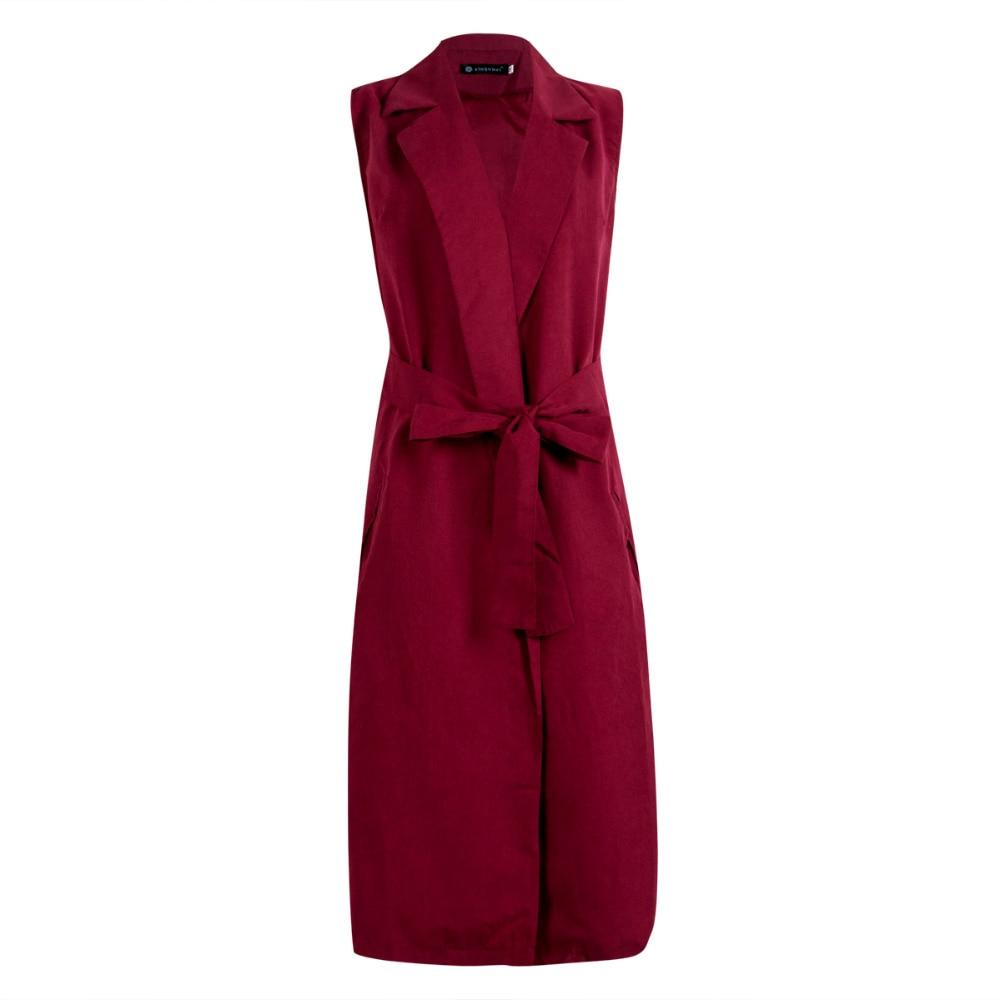 Spring And Summer New Female Wild Solid Color Long Cardigan Coat V-Neck Sleeveless Cardigans The Vest Sleeveless Jacket