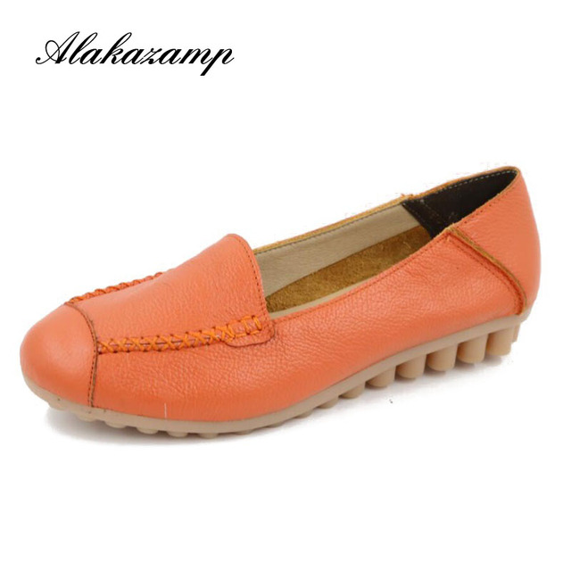 2019 Genuine Leather Flat Shoes Woman Hand-sewn Leather Loafers Cowhide Flexible Spring Casual Flats Women Shoes W1699