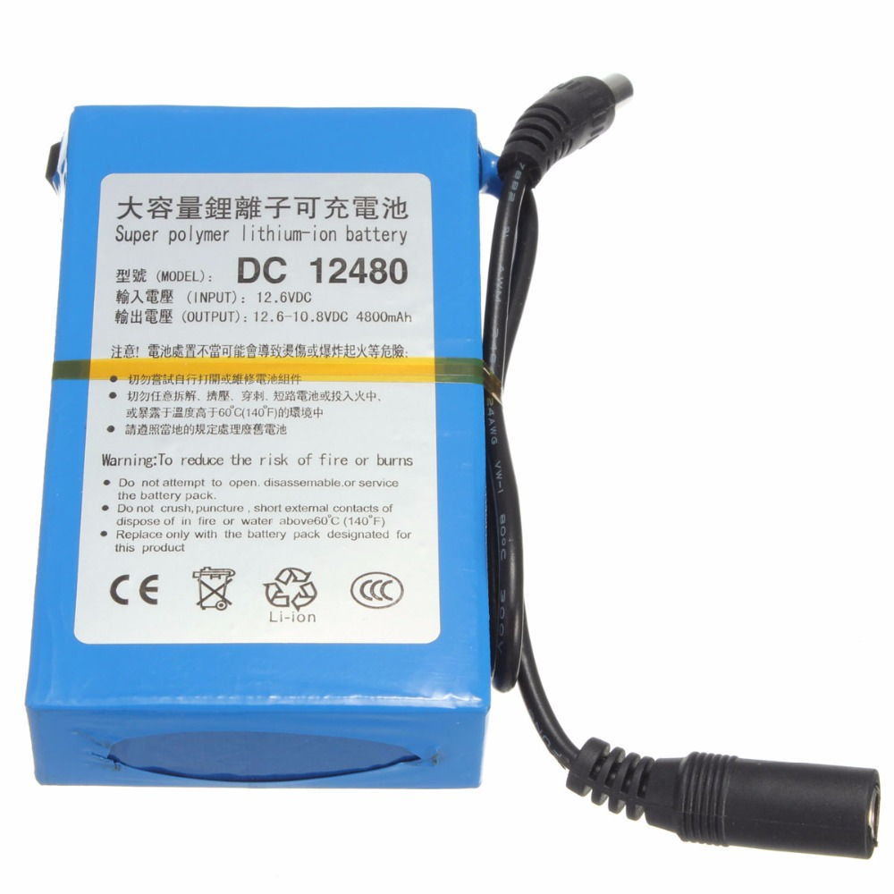 GTF 4800mAh Lithium Ion High Capacity Rechargeable Battery AC Power Charger EU/US Plugs Rechargeable Battery For CCTV Camera