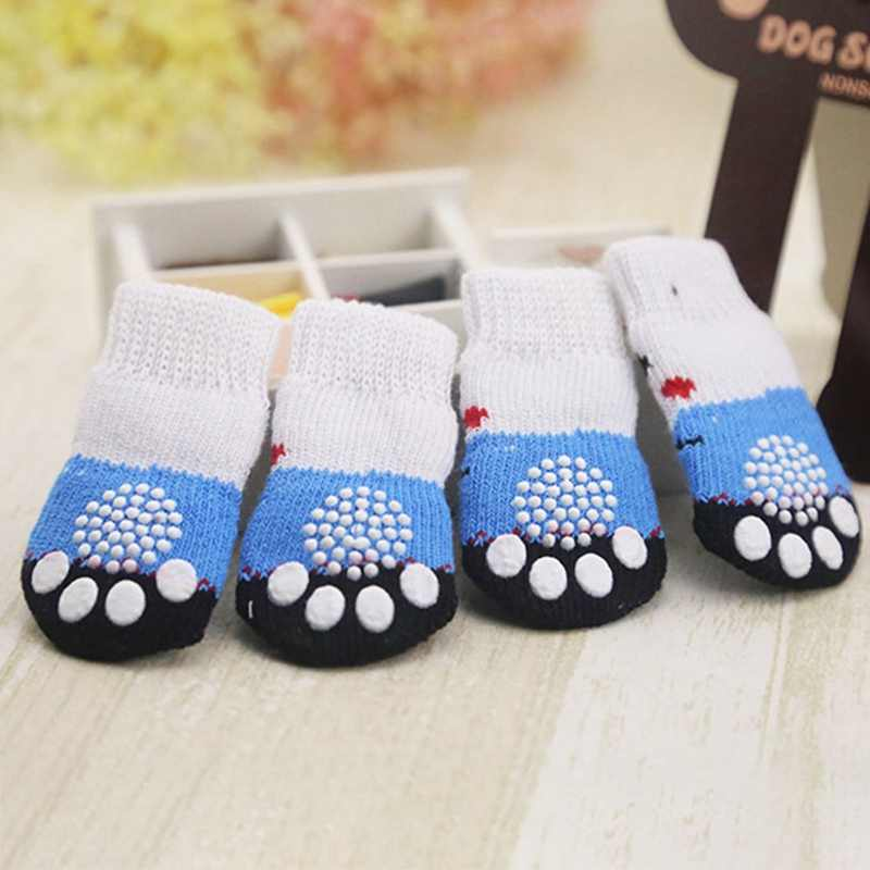 4pcs Puppy Small Dog Shoes Cute Cartoon Warm Soft Cotton Knits Sock Anti Slip Skid Socks