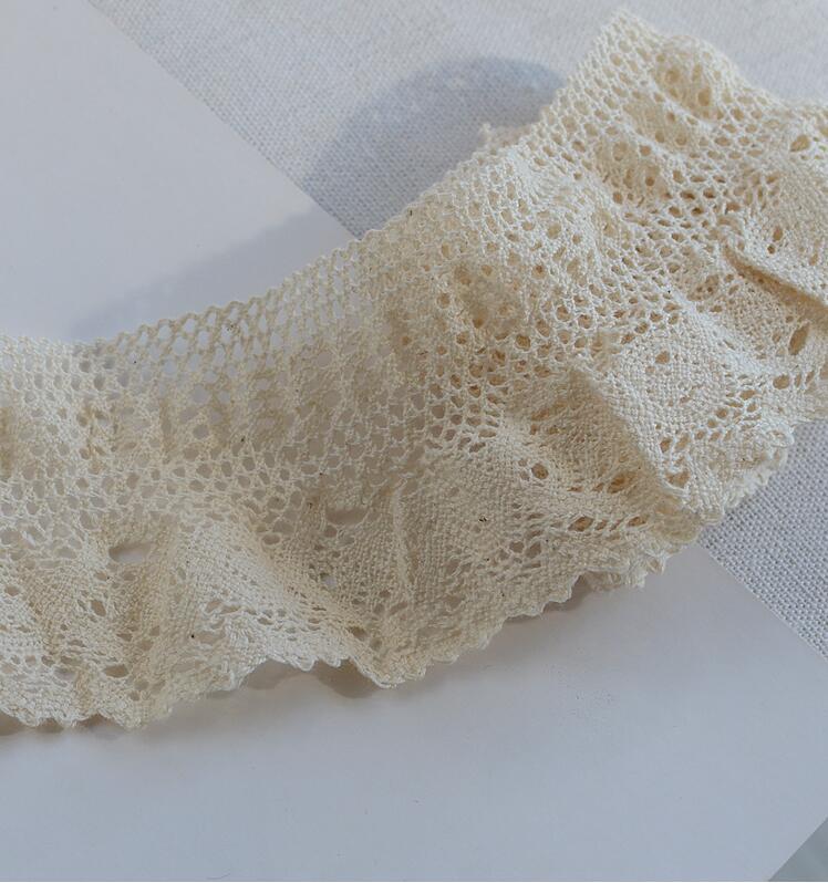 Fita de laço de algodão elástica, 3 metros, laço bordado, costura, artesanal, acessórios de material de costura, 6.7cm