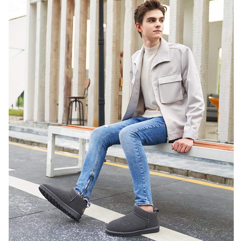 CAMEL Winter Men Snow Boots Men With Warm Fur Suede Cowhide Fashion Short Boots Casual Cotton Shoes Men