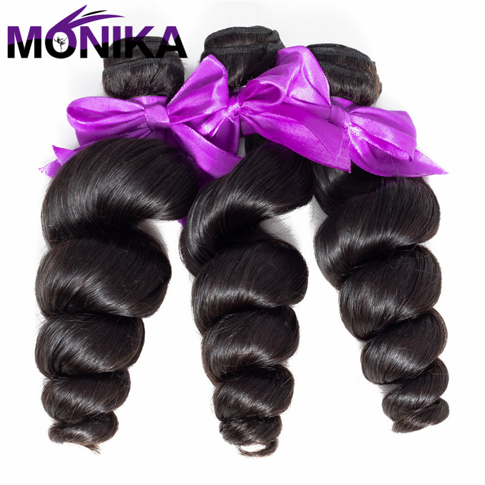 Monika Hair Malaysian Loose Wave 100% Human Hair Bundles 8 -26 Inches Hair Extension Natural Color Hair Weave Non Remy