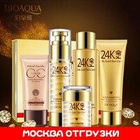 Bioaqua 24 k soin du visage escargot ensemble hydratant blanchissant crème Lotion visage crème de jour soin de la peau corée cosmétique ensemble pour le visage