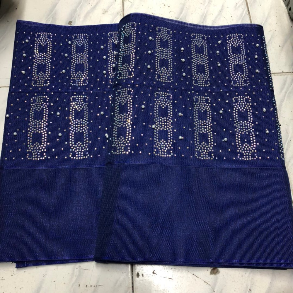 2019 designs fashion nigerian aso oke gele headtie embroidery with beads stones high quality wraps fabric  2piece/set  for women2019 designs fashion nigerian aso oke gele headtie embroidery with beads stones high quality wraps fabric  2piece/set  for women