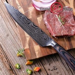 Image 3 - Кухонный нож шеф повара из высокоуглеродистой нержавеющей стали, дамасский лазер, 8 дюймов
