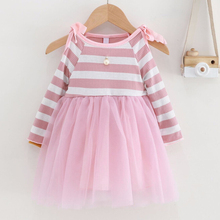 Kid New Fashion Casual Cute Child Baby Round Neck Long Sleeve Dress
