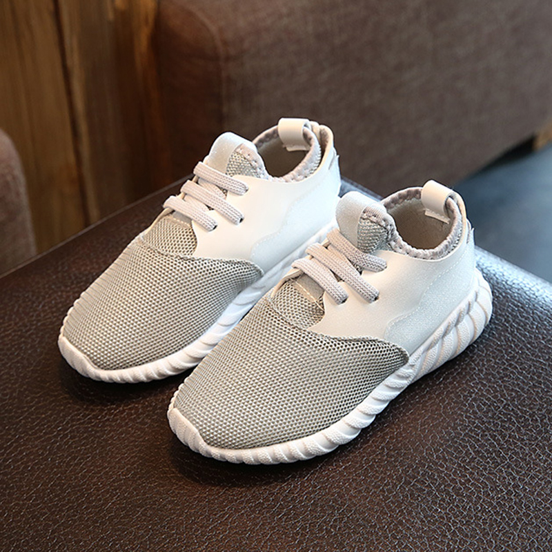 Children Casual Shoes Elastic Lace Light Weight Mesh Kids Shoes PU Leather Kids Boys Sneakers Breathable Sport School Shoes