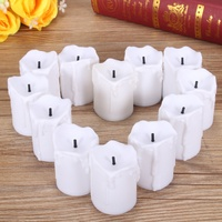 Overvalue 12PCS LED Tea Light Tear Candle Tealight Flameless Flickering Battery Operated For Home Wedding Party Holiday Decor