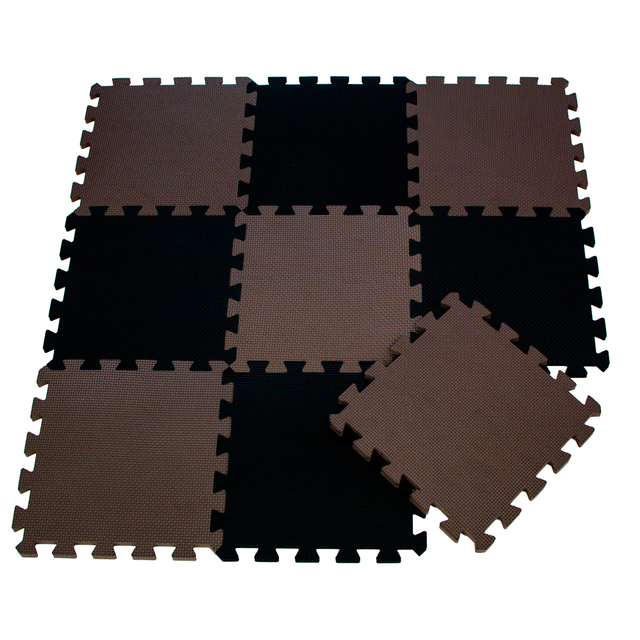 9pcsbag Soft Eva Foam Baby Play Mat Brown Color Series Puzzles Mat