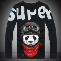 Free shipping plus size tshirt men XXL XXXL 4xl 5xl 6xl 7xl 8xl autumn winter with Animal cotton o neck long sleeve T shirt