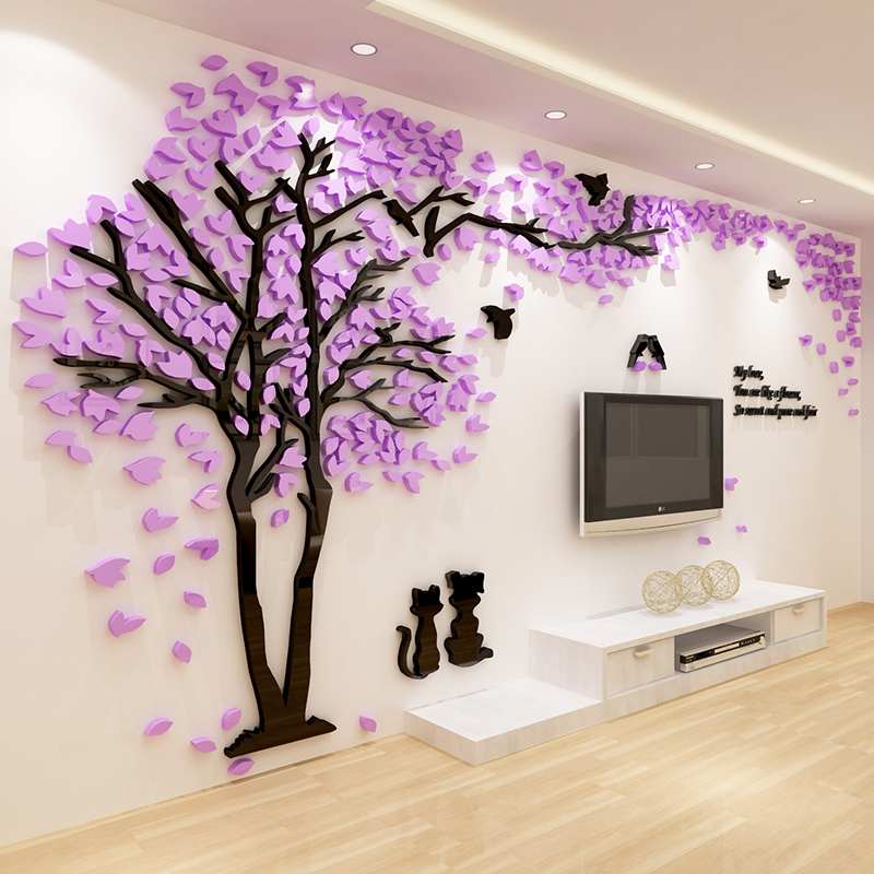 2018 New Home Decoration Style !!!Beautiful Cat Couples Tree Acrylic 3D Wall Stickers for Living Room Sofa TV Background Wall