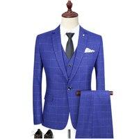 Мужской костюм для свадьбы, вечеринки, выпускного вечера, смокинг, мужская повседневная рабочая одежда, костюмы (куртки + брюки + жилет)