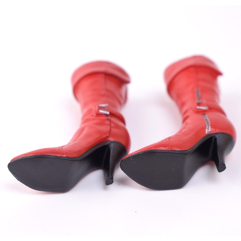 1//6 Faux Leather High Heeled Mid-calf Boots for 12/'/' Female Action Figure Doll