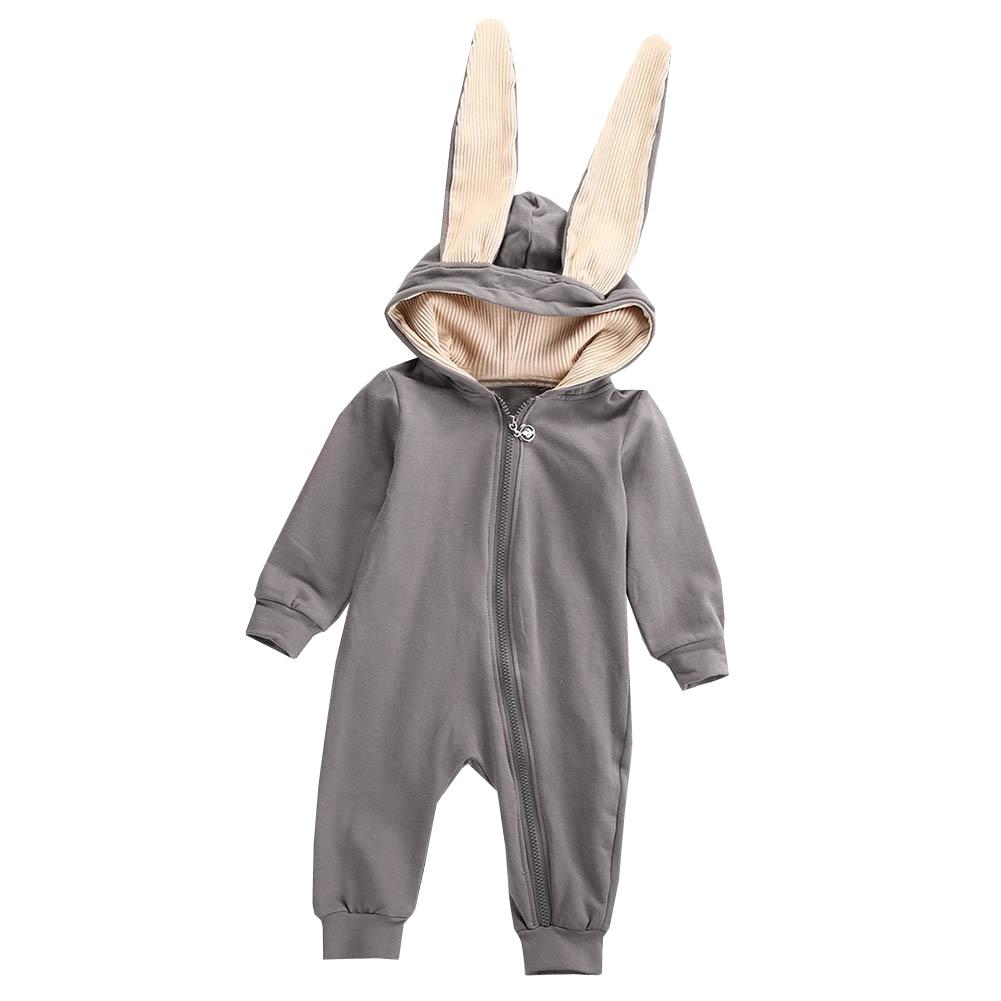 2018 Newborn Infant Baby Girl Boy Clothes Cute 3D Bunny Ear Romper Jumpsuit Playsuit Autumn Winter Warm Bebes Rompers