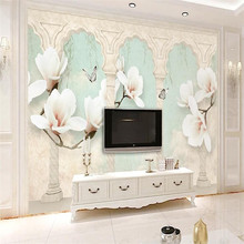 Beige magnolia butterfly Roman column 3d stereo TV background wall professional production wallpaper whole house custom