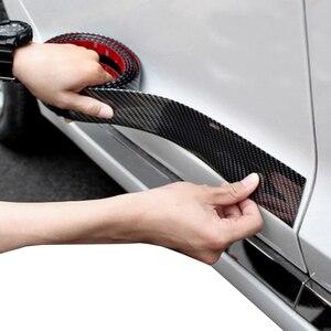 Image 3 - Bande de protection pour portes de voiture, garniture pour pare chocs avant, en Fiber de carbone, autocollants pour porte de voiture, chrome, style