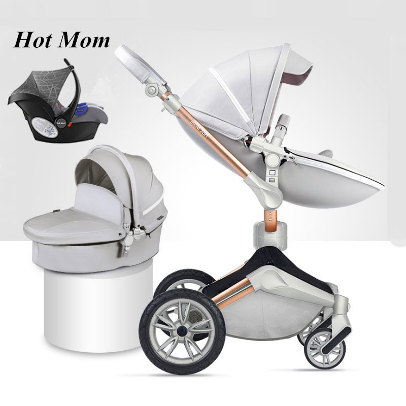 Hot mom 2018 3 en 1 luxe en cuir bébé poussette avec poignée panier