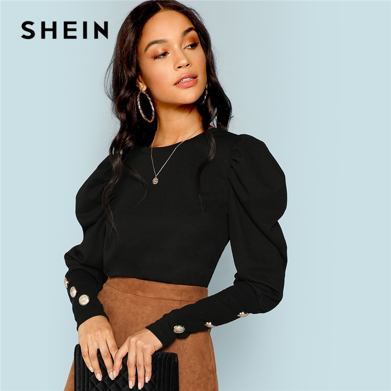 SHEIN Black Elegant Office Lady Puff Sleeve With Button Detail Long Sleeve Solid Tee 2018 Autumn Workwear Women Tops And T shirt|T-Shirts| - AliExpress