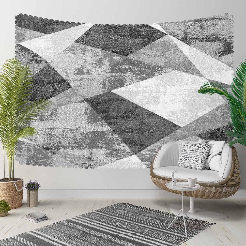 Else Black Gray White Patchwork Geometric  Nordec 3D Print Decorative Hippi Bohemian Wall Hanging Landscape Tapestry Wall Art