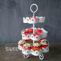 A Heart shaped Lace Hollow Out Three Layers Cake Frame White Lace Multi storey Paper Cup Cake Disc Wedding A Snack Frame