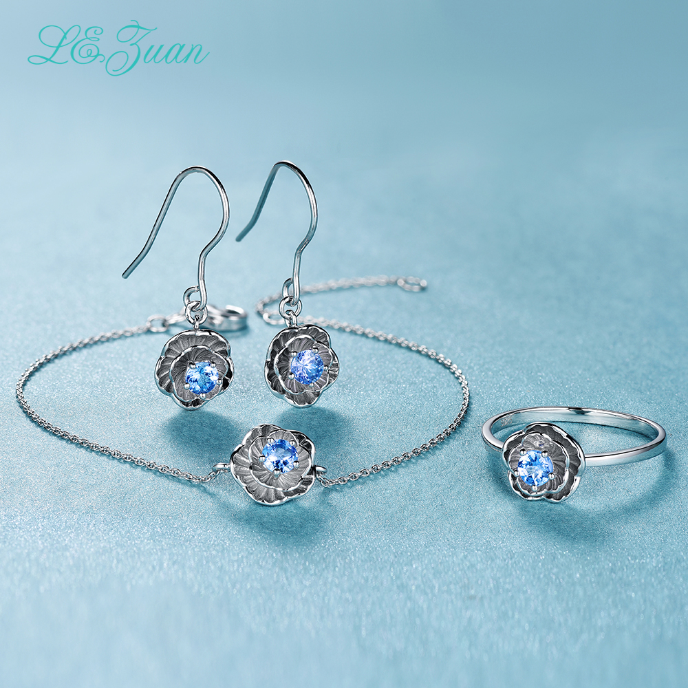 I zuan Jewelry Set 925 Sterling Silver Fine Jewelry 0 2ct Natural Tanzanite Drop Earrings Ring