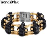 18mm Wide Boys Mens Chain 3 Skulls Link Silver Gold Black Tone Biker Motorcycle Link 316L